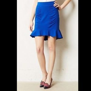 NWT Anthropologie Blue Ruffle Pencil Skirt